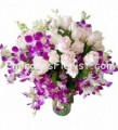 Pink Roses and Orchids Vase