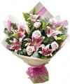 Pink roses and lilies bouquets