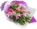 Pink lily hand bouquets