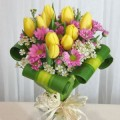 Tulips-Crysantimums handtied