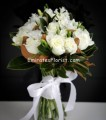white roses and freesia bouquets