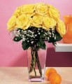Dozen Yellow roses in vase